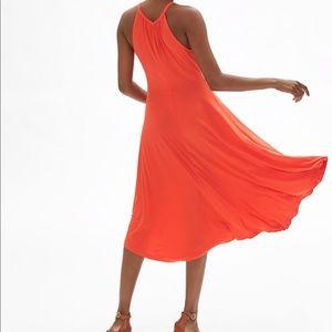 NWT orange midi swing dress
